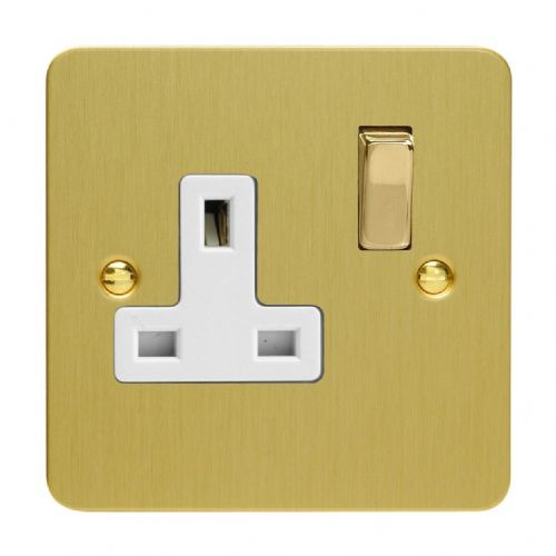 Varilight XFB4DW Ultraflat Brushed Brass 1 Gang 13A DP Single Switched Plug Socket